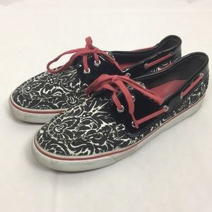 Sperry Black & White Floral Patent Leather 🌿